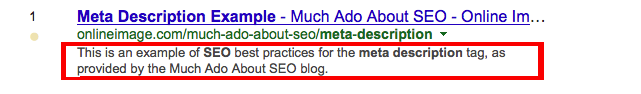 Example of a META description as it appears on the SERPs