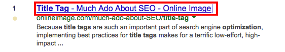 Example of a title tag as it appears in Google