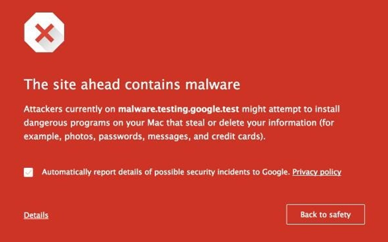 Malware pop up