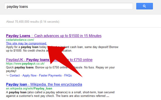 SERP Site Hack Example