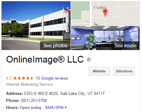 This example of a brand box highlights Online Image®.